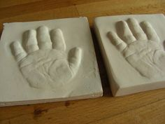 Not just for babies.  Mwahahahaaaaa! baby hand imprints and outprint tutorial with air dry clay and plaster of paris - POTTERY, CERAMICS, POLYMER CLAY