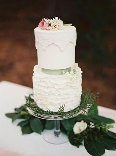 Ivory Ruffled Wedding Cake from an Elegant Woodland Wedding Inspiration Shoot
