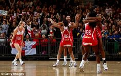 Pure joy: The England team celebrate their victory during the International Netball Series over Australia at Wembley