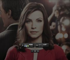 Top Lawyer TV Series: ••The Good Wife•• on CBS • S1 23E 2009-09-22 to S5 2013 16E, S6 2014 still in production by March 2014 • stars: Julianna Margulies as Alicia Florrick + Josh Charles as Will Gardner + Christine Baranski as Diane Lockhart + Archie Panjabi  as Kalinda Sharma + Matt Czuchry as Cary Agos + Alan Cumming as Eli Gold + Chris Noth as Peter Fl. + Mary Beth Peil as Jackie Fl. +  Zach Grenier as David Lee • depicted: official Poster with Alicia Florrick's gaze, Fan.tv play buttons