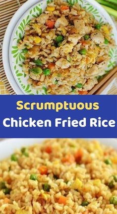 Scrumptuous Chicken Fried Rice Ingredients cups cooked chicken breast, skinless and diced cups cooked brown rice, you can use about 1 cup rawBasmati brown rice tbsp canola oil 1 cup frozen peas, unthawed ½ cup sliced scallions 2 tsp Rice Recipes, Veggie Recipes, Asian Recipes, Chicken Recipes, Cooking Recipes, Chicken Ideas, Healthy Recipes, Cooked Chicken