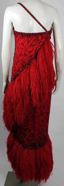 Bob Mackie - Créateur de Mode - Robe 'Panthère Rouge et Noir' - Mousseline et Plumes d'Autruche