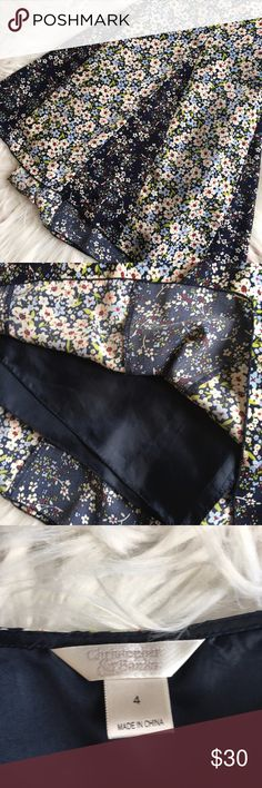 "Christopher & Banks Fit and Flare Skirt Size 4 Gorgeous floral print, excellent condition.  Waist measures 14"" across lying flat, length is 23.5"" Christopher & Banks Skirts Midi"