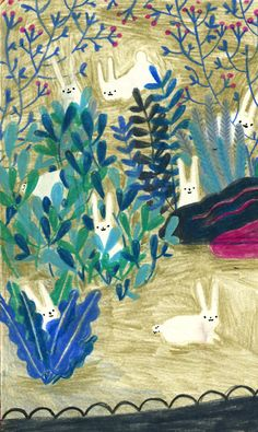 botanical illustration with bunnies in blue