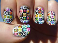 Excuisite Rainbow Checkered Dot Pattern Nail Art