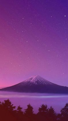 Mountains are with pink and purple