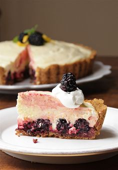 Craving this Meyer lemon and Blackberry Chiffon Pie -- easy to make ahead!