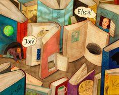 Pinzellades al món  Els personatges surten dels llibres. La literatura cobra vida. (il·lustració de Lika Nüssli)