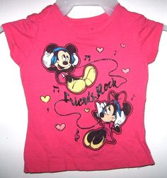 3c3a9638 Disney Store Pink T-Shirt Mickey Minnie Mouse Friends Rock Music Notes XXS  2 3