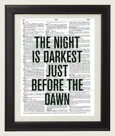 The Night Is Darkest Just Before The Dawn - vintage upcycled dictionary art print The Dark Knight Life Insurance Premium, Life Insurance Quotes, Batman Phrases, Excellence Quotes, Before The Dawn, Garden Wall Art, Vintage Bee, I Am Batman, Dictionary Art
