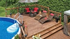 Inspiration from beautiful pool decks – landscaping – patio Patio Plan, Pool Deck Plans, Backyard Patio, Above Ground Pool Decks, In Ground Pools, Decks Around Pools, Deck Landscaping, Beautiful Pools, Swimming Pools Backyard