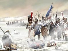 NAP- France: The French retreating after the counter attack at Borodino, by Mikhail Illarionovich Golenishchev.