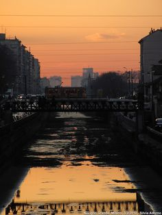 Winter sunset on the Naviglio Grande, Milan.