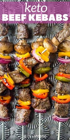 Make these Low Carb Keto Beef Kabobs with delicious marinade and tasty low carb vegetables, it's an easy paleo & weeknight dinner! Best Keto Diet, Keto Diet Plan, Beef Recipes, Low Carb Recipes, Beef Skillet Recipe, Kabob Marinade, Beef Kabobs, Low Carb Vegetables, No Carb Diets