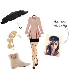 """""""Jinger Rain Outfit"""" by maddieline77 on Polyvore styles our Mel Ankle Boots in Vanilla with a very chic outfit for the rain!  http://www.kindredsole.com/mel-boots-vanilla-fashion-wellies.html  #rain #wellies #boots #melshoes #pink #gold #fashion #polyvore"""