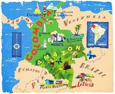 Anna Simmons - Map of Colombia Colombia Map, Colombia Travel, Colombian Spanish, Arte Latina, Maps For Kids, Spanish Speaking Countries, World Thinking Day, Travel Illustration, Teaching Spanish