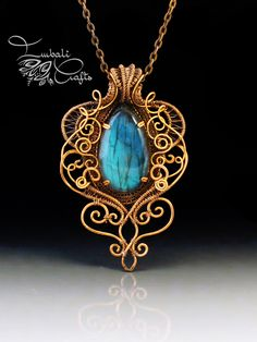 Wire weave copper necklace with labradorite by Nadja Shields from Imbali Crafts
