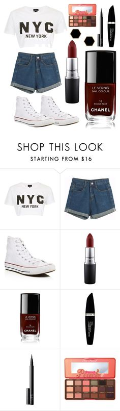 """Just Visit"" by lexidowd ❤ liked on Polyvore featuring Topshop, Chicnova Fashion, Converse, MAC Cosmetics, Chanel, Max Factor, NARS Cosmetics, Too Faced Cosmetics and Janna Conner Designs"