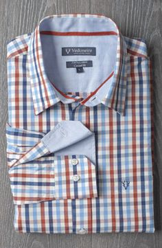 £29.99 Mens 100% Cotton Check Shirt (rust blue colour). A fresh, punch colour in sizes Medium to 3XL.