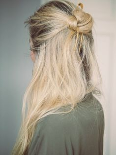 Half-up knotted bun