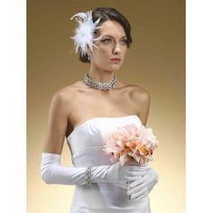 Above Elbow White Bridal Gloves in Matt Satin