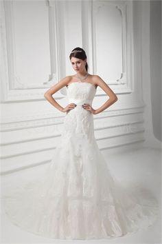 Robe de mariée civil de lux en satin et en dentelleornée de perle traîne palais 2015