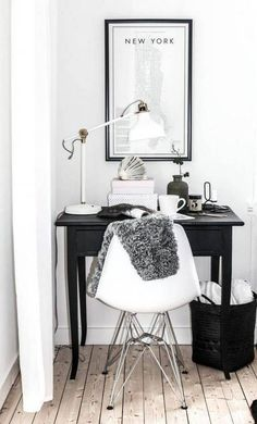 Home Office Ideas On A Budget Black and White Office