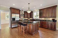 cherry wood mocha stain kitchen remodel orange county