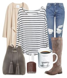 """Coffee Date"" by gooseling ❤ liked on Polyvore featuring Topshop, MANGO, Frye, Tom Ford, Gift Republic, Essie, women's clothing, women, female and woman"