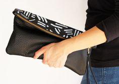 Leah Learner   BOGO - Black leather clutch, hand printed, original artwork