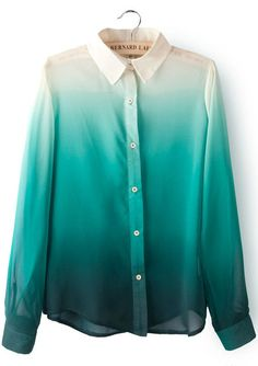 Green Gradients Lapel Long Sleeve Chiffon Blouse pictures