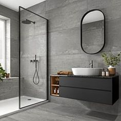 Grey Wall Tiles, Grey Bathroom Tiles, Loft Bathroom, Bathroom Layout, Grey Bathroom Interior, Bathroom Ideas, Light Grey Bathrooms, Chic Bathrooms, Washroom