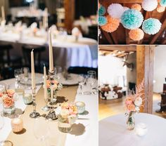 m Oktober durften wir für ein glückliches Paar die Künkele Mühle  dekorieren. Sie wünschten sich natürlich, dass die rustikale Atmosphäre der  Mühle aufgegriffen wird. Zugleich sollte es aber frisch und freundlich  wirken, mit zarten Rosa- und Cremetönen. Pfirsich und Mintgrün waren  ebenfalls gewünschte Farben.