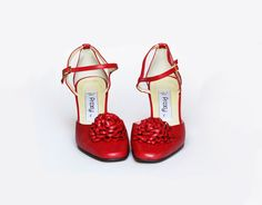 Red shoes . VINTAGE SHOES. Vintage Mary Jane . 1980s red heels. $68.00, via Etsy.