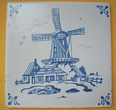 Mosa Delft Blue Hand Painted Windmill Tile