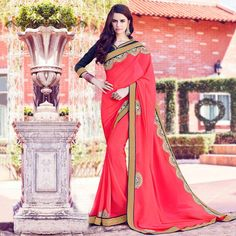 Buy Pink Party Wear Georgette Saree online India, Best Prices, Reviews - Peachmode