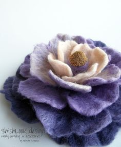Hand Felted Flower Brooch Wool Jewelry  Purple ❤ by ShishLOOKdesign