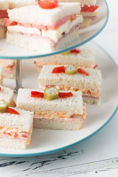 Garden spread finger sandwiches recipe finger sandwiches ham and pimento cheese tea sandwiches with pickled okra garnish forumfinder Choice Image
