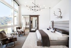 Inspiration for a rustic master carpeted bedroom remodel in Salt Lake City with . Inspiration for a rustic master carpeted bedroom remodel in Salt Lake City with white walls Master Bedroom Design, Home Decor Bedroom, Modern Bedroom, Master Bedrooms, Bedroom Designs, Bedroom Interiors, Bedroom Ideas, Rustic Bedrooms, Cosy Bedroom Warm