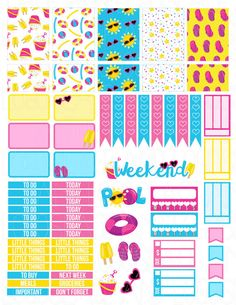 Printable Planner Stickers Erin Condren Pool Party by LaceAndLogos