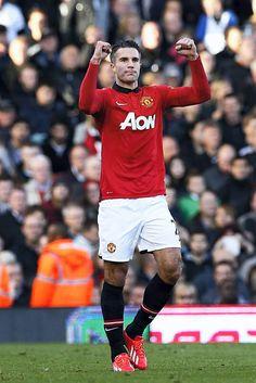 Fulham 1 Manchester United 3: Van Persie celebrates