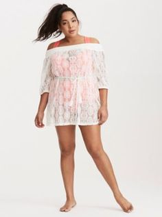 f7671f2420 Crochet Off Shoulder Cover Up White Beach Cover Up