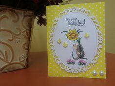 Hedgehog holding daffodil birthday card by LuvinItCREATIONS on Etsy