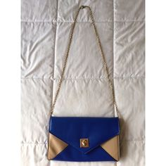 Royal Blue & Nude Crossbody Bag Perfect condition Crossbody bag!  Outside leather is in pristine condition and inside shows no signs of use.  The gold chain is also in great condition.  Used once and has sat in my closet for over a year! Bags Crossbody Bags