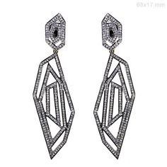 2.6Ct Diamond Pave Sterling Silver 14K Gold Antique Look Dangle Earrings Jewelry #Handmade #DropDangle