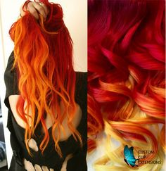 Sunset color hair extensions hair extensions clip in ombre hair arising of the phoenix custom handmade clip hair extensions red hair extensionsyellow hair pmusecretfo Gallery