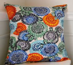 Floral Pillow Cover, Decorative Pillow Cover, Blue Throw Pillow, Orange Green Throw Pillow, 18x18 Inch Pillow, Cushion Cover