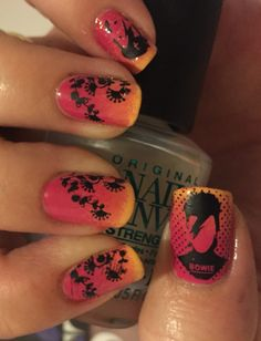 David Bowie meets Club Tropicana in this tequila sunrise manicure.   Using OPI Girls Love Ponies / Where did Suzi's Man-go? / I Just Can't Cope-acabana and MoYou Stamping plates Roxy 09 and Pro Collection 08   (RIP 11/01/2016)