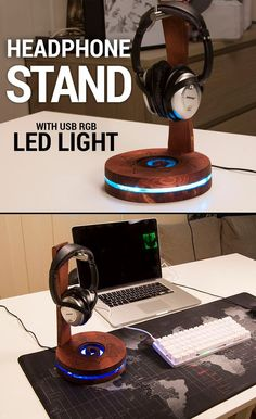 I had to clean up my desktop a bit because it was just a mess, so I made this headphone stand inspired by Hearthstone!Supply list:USB RGB LED-stripShrink tubesAcrylic glassBathroom hook hangerPine woodDark wood stainTools used:JigsawRouterWoodburn. Woodworking Workshop, Woodworking Projects Diy, Woodworking Videos, Custom Woodworking, Woodworking Classes, Popular Woodworking, Woodworking Techniques, Diy Headphone Stand, Headphone Holder