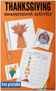 With this free printable activity, kids measure the height of Thanksgiving objects in inches or centimeters, then rank the objects from tallest to shortest. Thanksgiving Activities For Kids, Thanksgiving Projects, Creative Activities For Kids, Measurement Activities, Stem Activities, Early Childhood Activities, Kids Pages, Project Based Learning, Worksheets For Kids